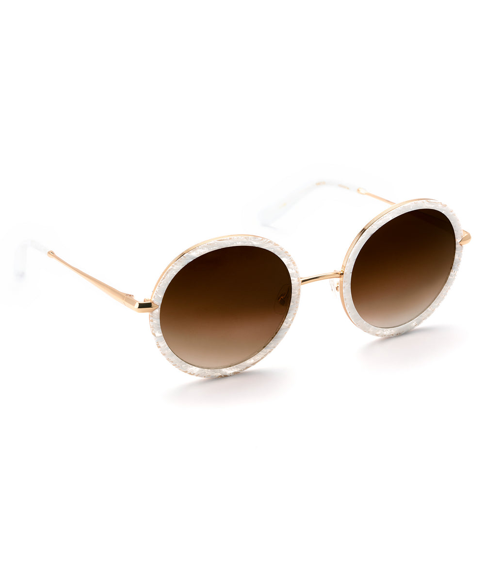 LOUISA | White Linen 24K handcrafted acetate sunglasses