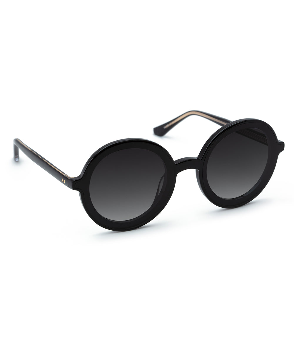 LOUISA NYLON | Black + Black and Crystal Handcrafted, Acetate Sunglasses