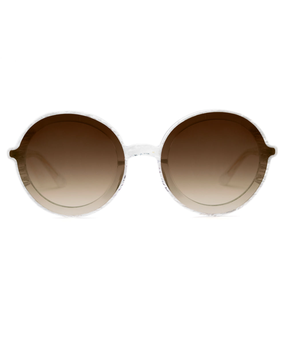 LOUISA NYLON | White Linen to Crystal Handcrafted, Acetate Sunglasses