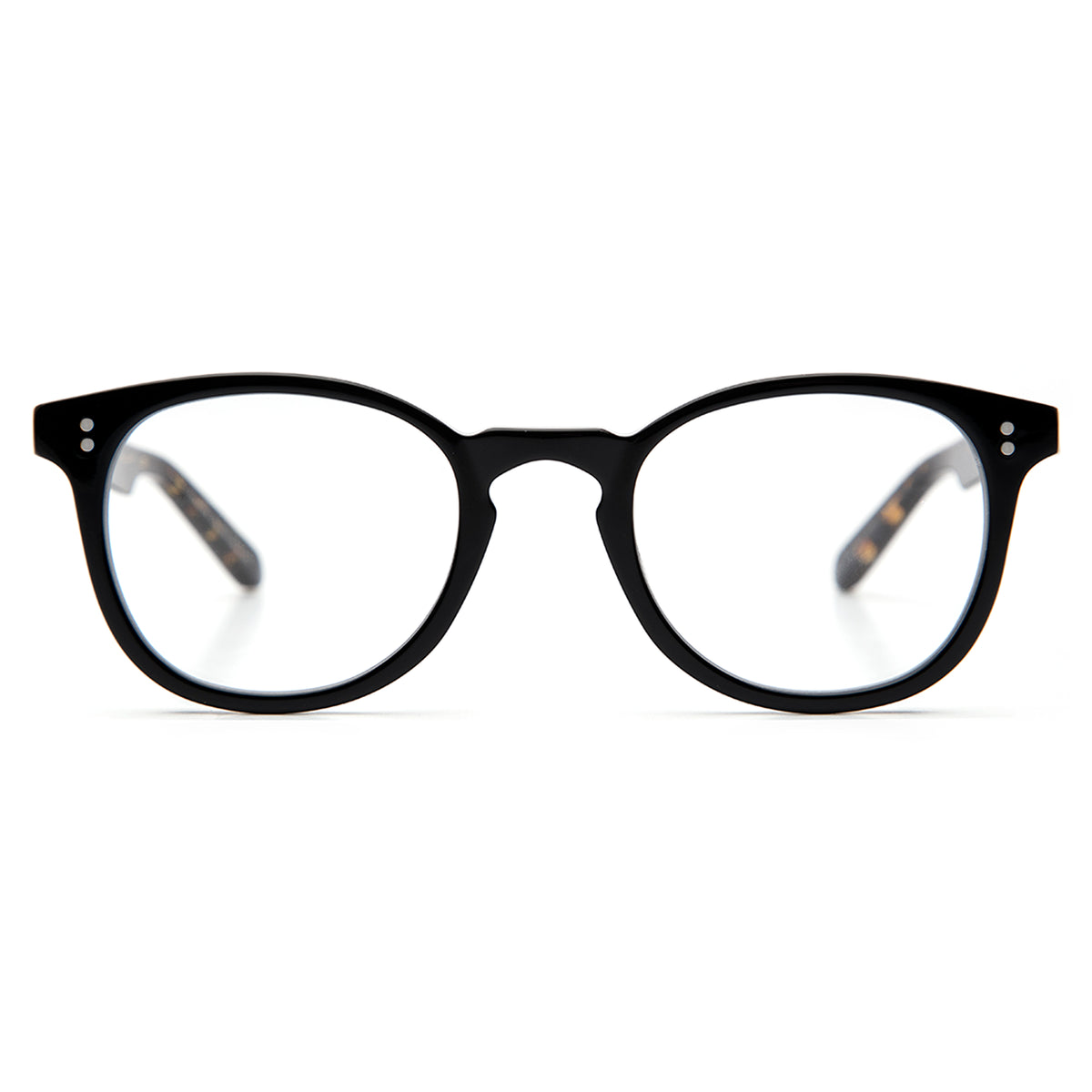 MARENGO | Black- Handcrafted acetate Optical frames with a round silhouette.