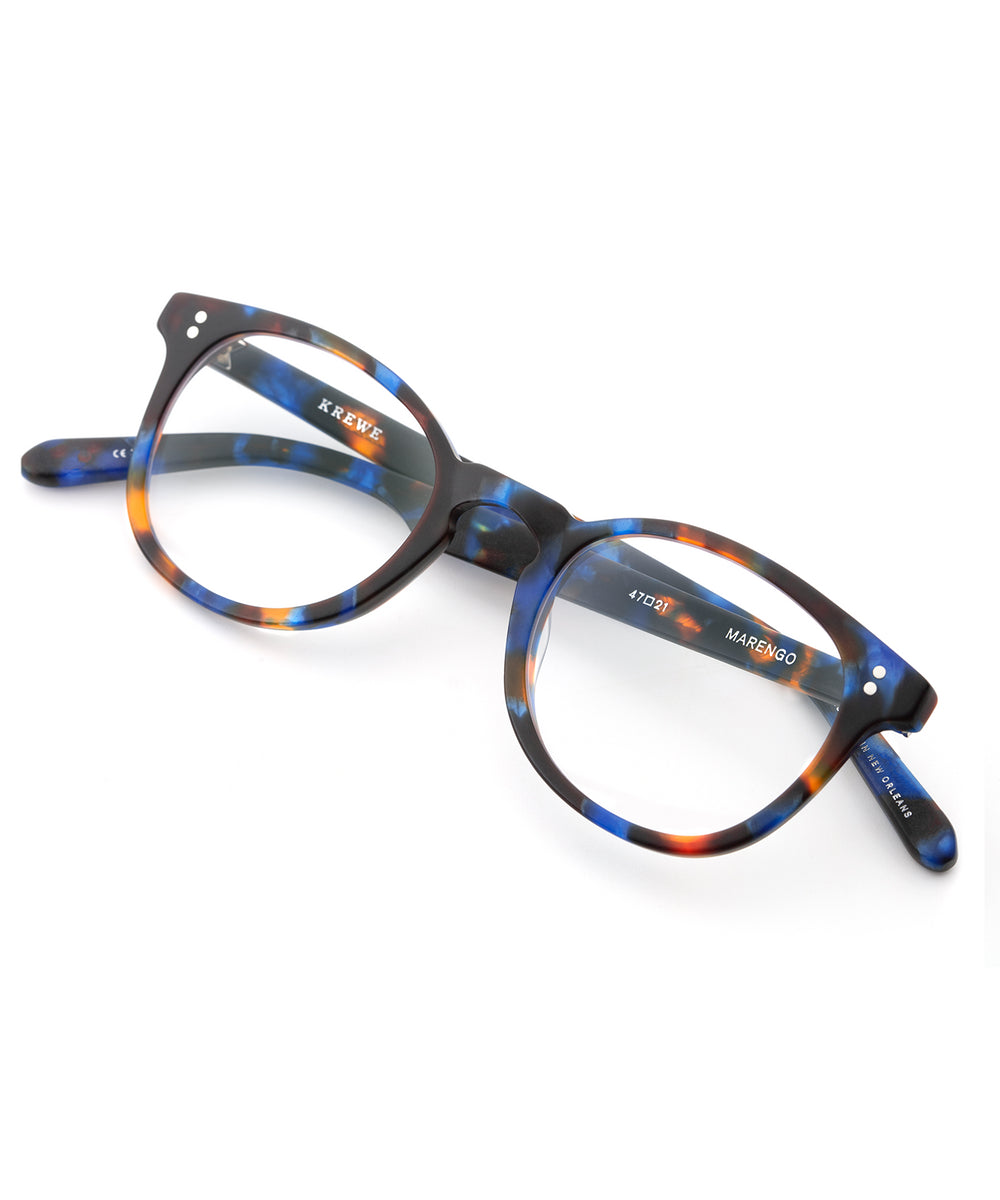 MARENGO | Matte Blue Steel Handcrafted, Acetate Frames