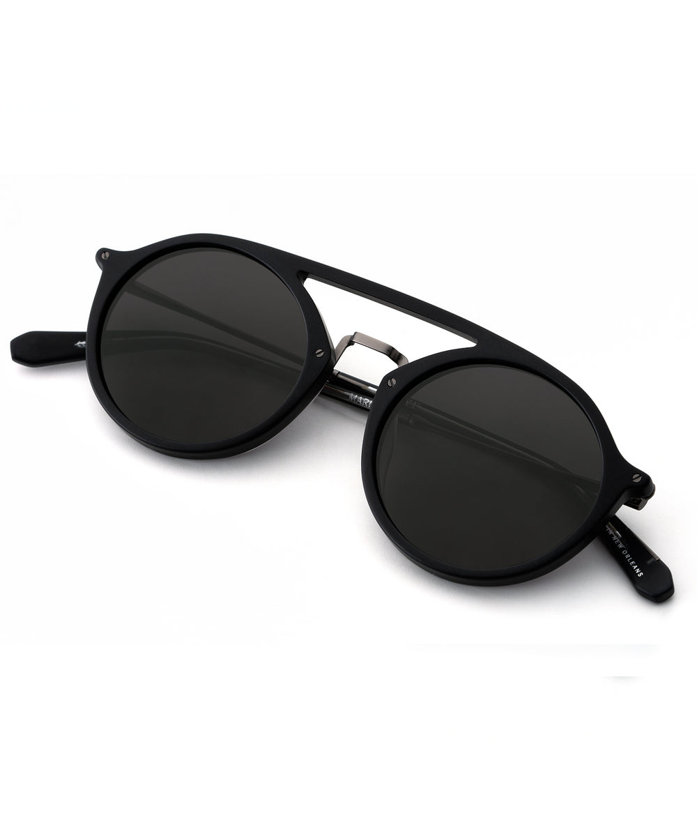 MARIGNY | Matte Black + Black and Crystal handcrafted acetate sunglasses