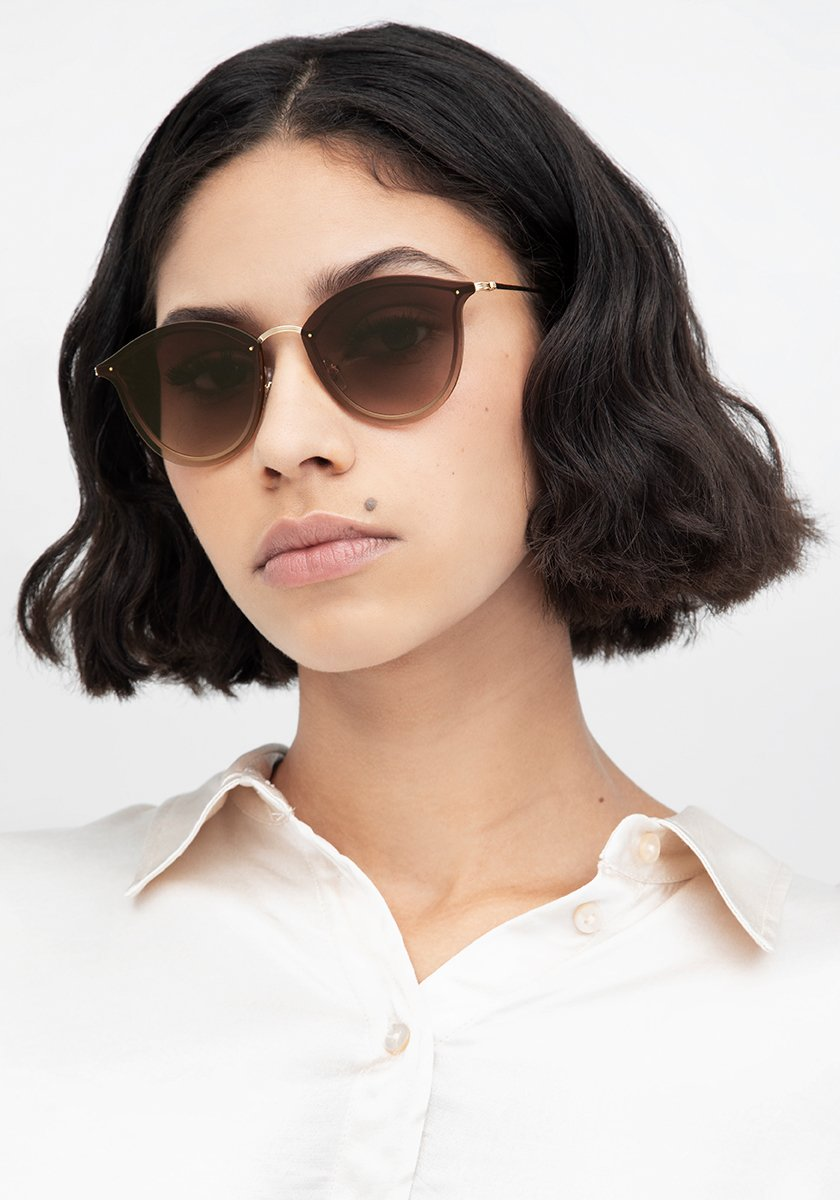 NELLIE | 18K + Black Tea Handcrafted, Stainless Steel Sunglasses