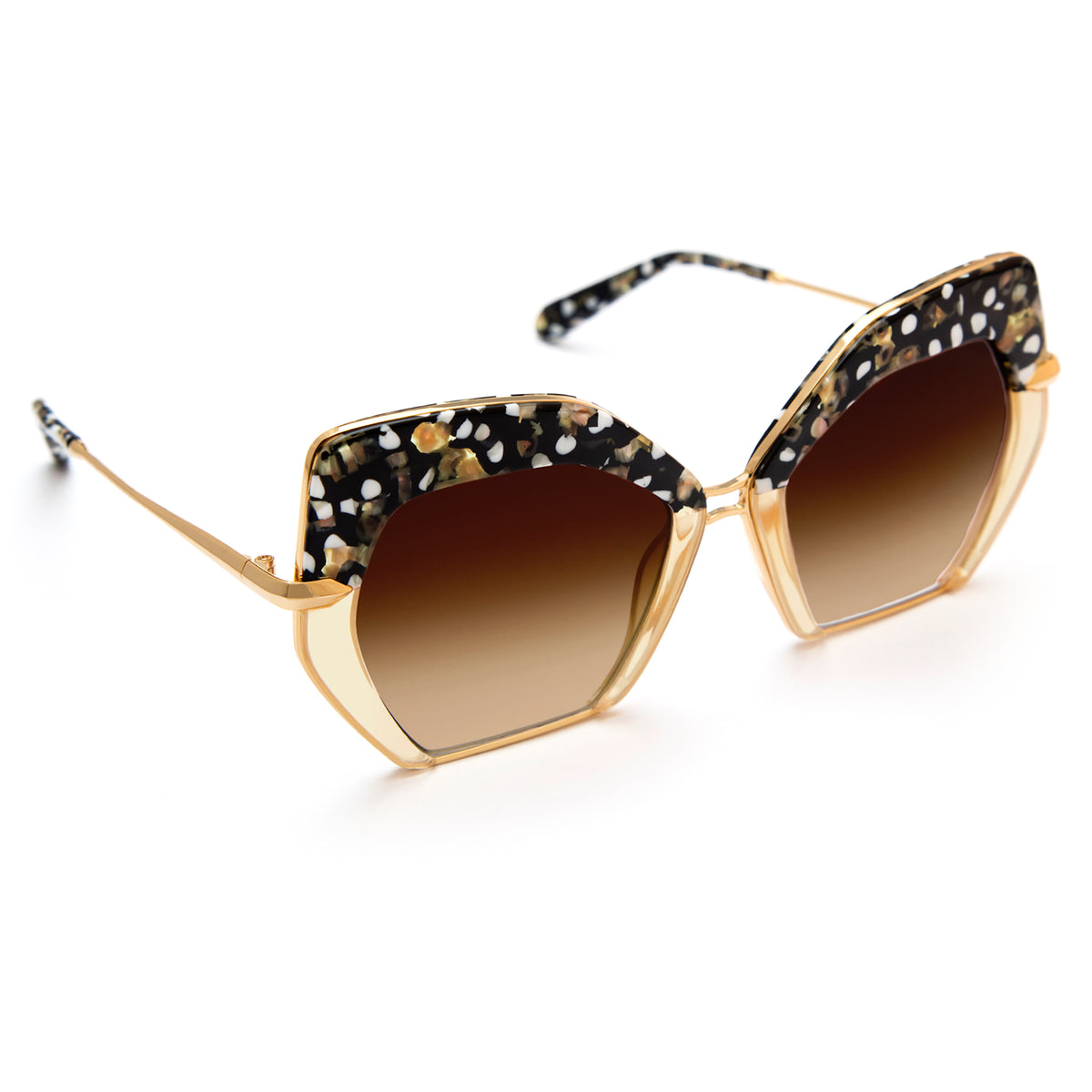 OCTAVIA | Plume to Champagne 24K Oversized acetate and metal Sunglasses.