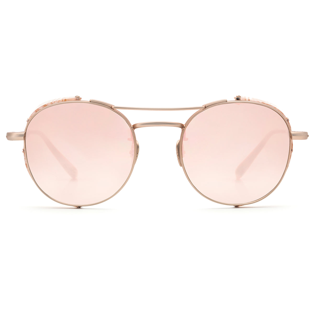 ORLEANS BLINKER | Matte Rose Gold Titanium + Camellia - A seamless combination of premium metal and acetate side blinders for a truly modern pair of Sunglasses.