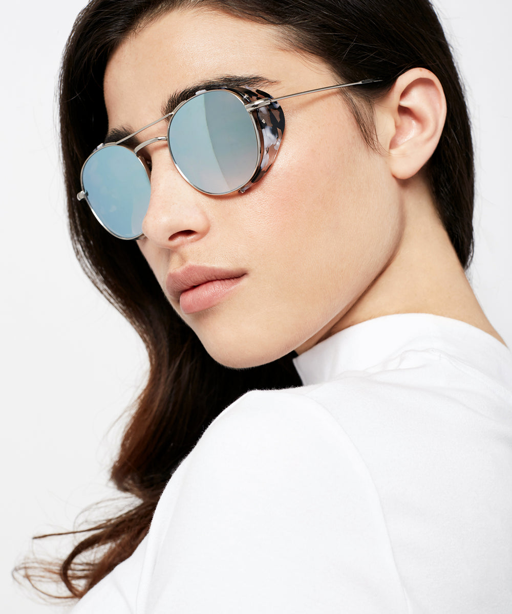 ORLEANS BLINKER | Titanium + Interstellar - A seamless combination of premium metal and acetate side blinders for a truly modern pair of Sunglasses. | Womens | Featured Model