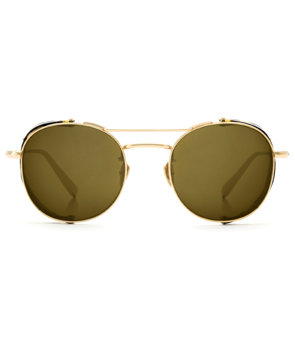 ORLEANS BLINKER | 24K Titanium + Zulu Polarized - A seamless combination of premium metal and acetate side blinders for a truly modern pair of Sunglasses.