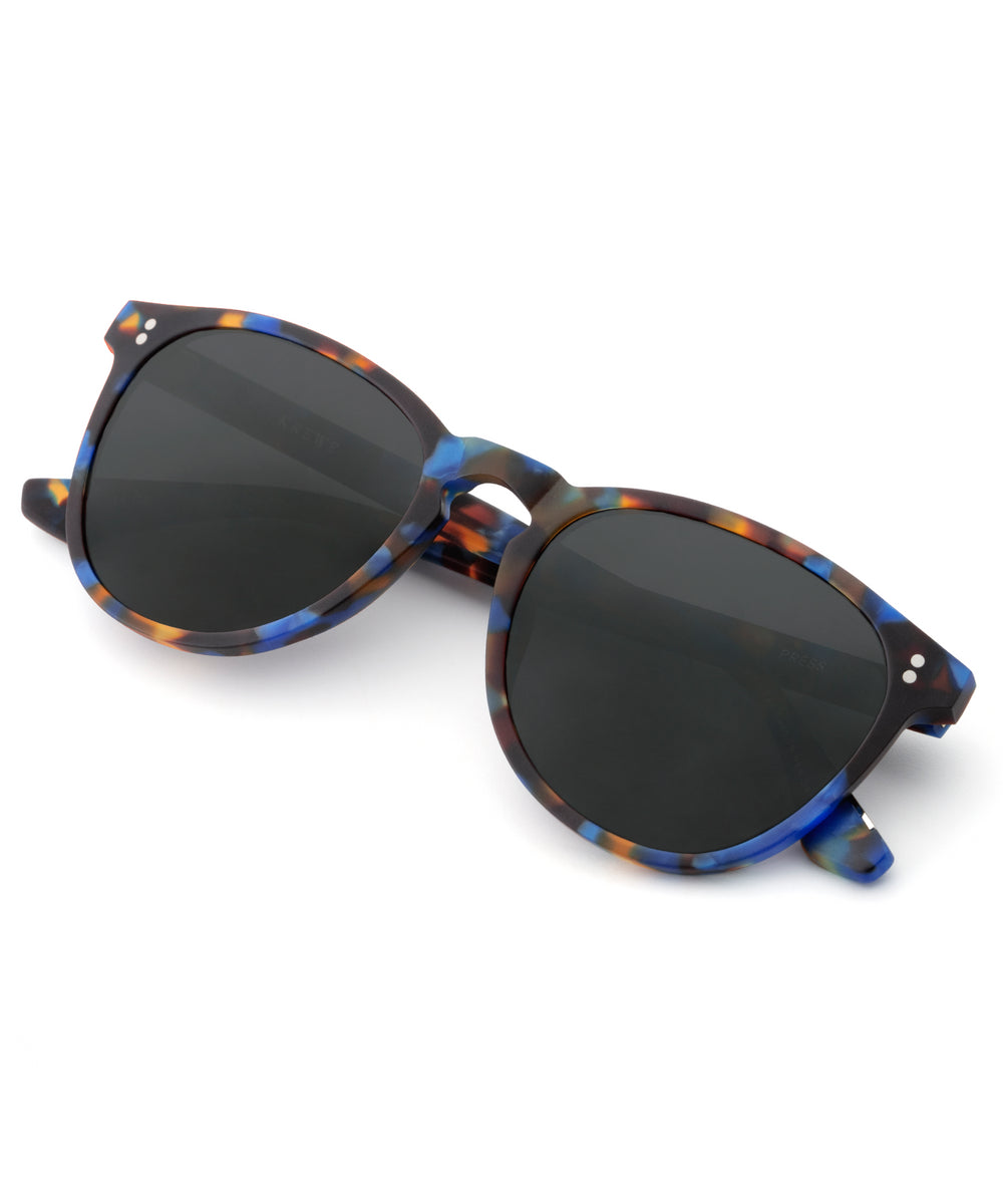 PRESS | Matte Blue Steel Polarized handcrafted acetate sunglasses