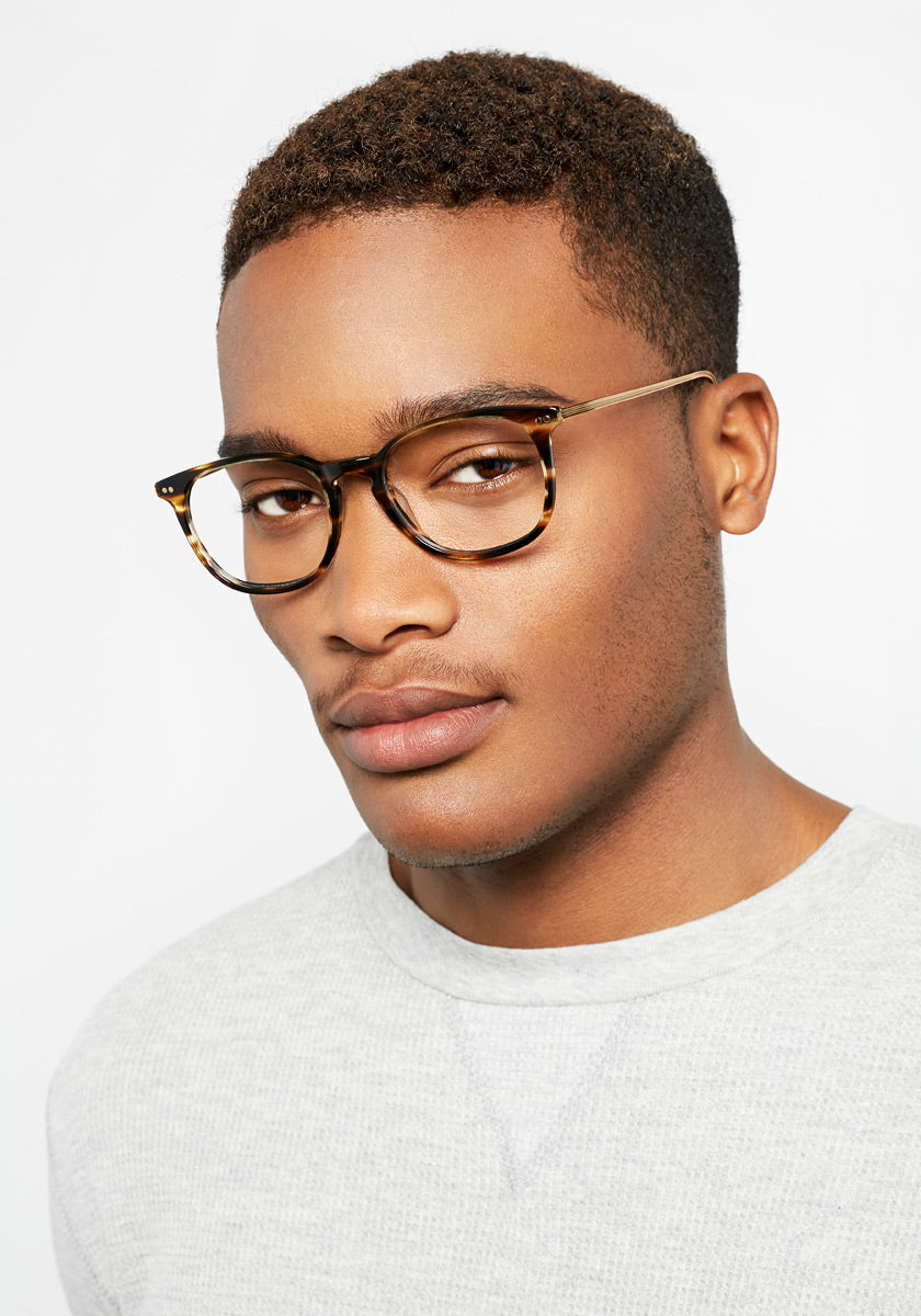 WRIGHT | Oak + 12K Titanium Handcrafted, Acetate Frames | Featured Model