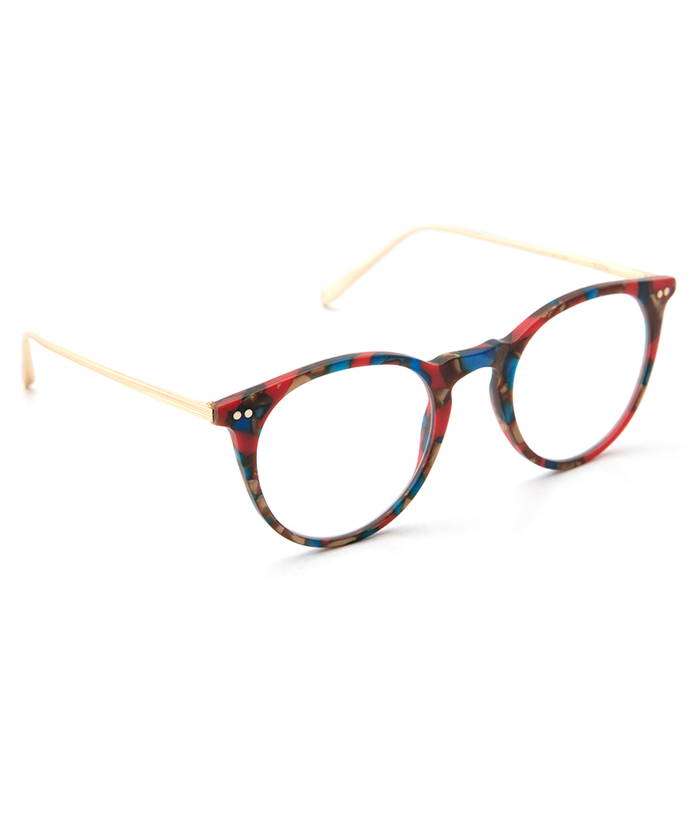 ROYAL | Matte Carnevale + 18K Titanium and handcrafted acetate Optical frames that are perfect for everyday wear.