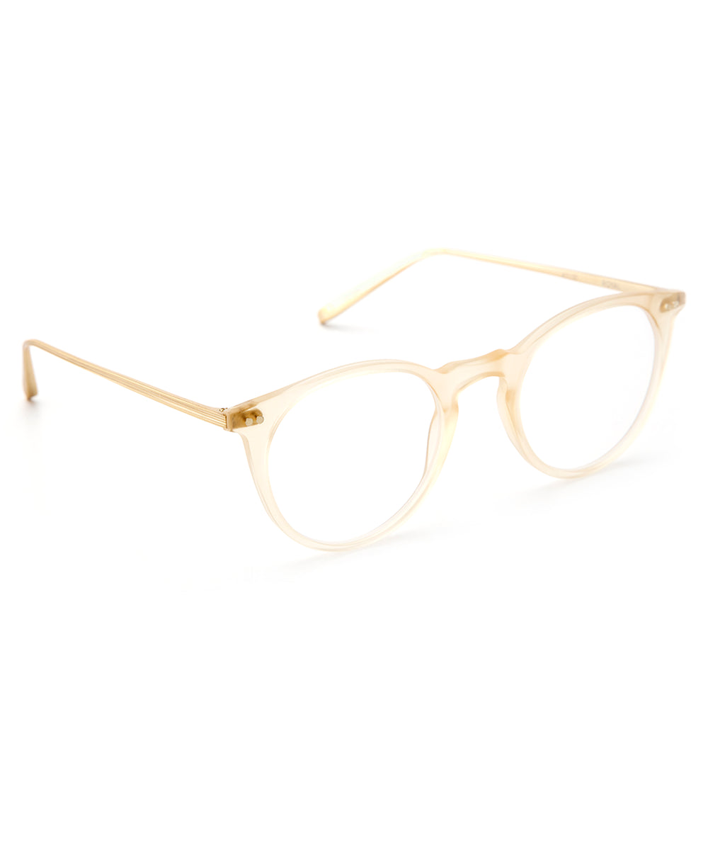 ROYAL | Matte Champagne + 18K Titanium and handcrafted acetate Optical frames that are perfect for everyday wear.