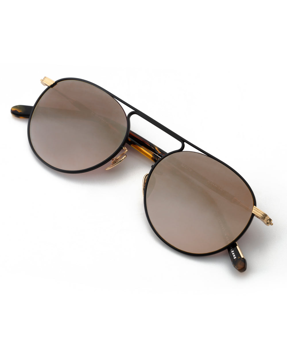 RAMPART | Matte Black + Honey 24K Handcrafted, Acetate Sunglasses