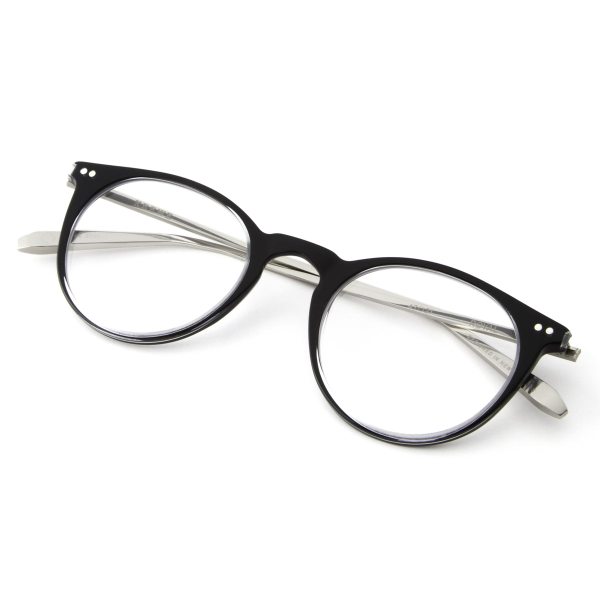 ROYAL | Crystal and Black + Titanium and handcrafted acetate Optical frames that are perfect for everyday wear.