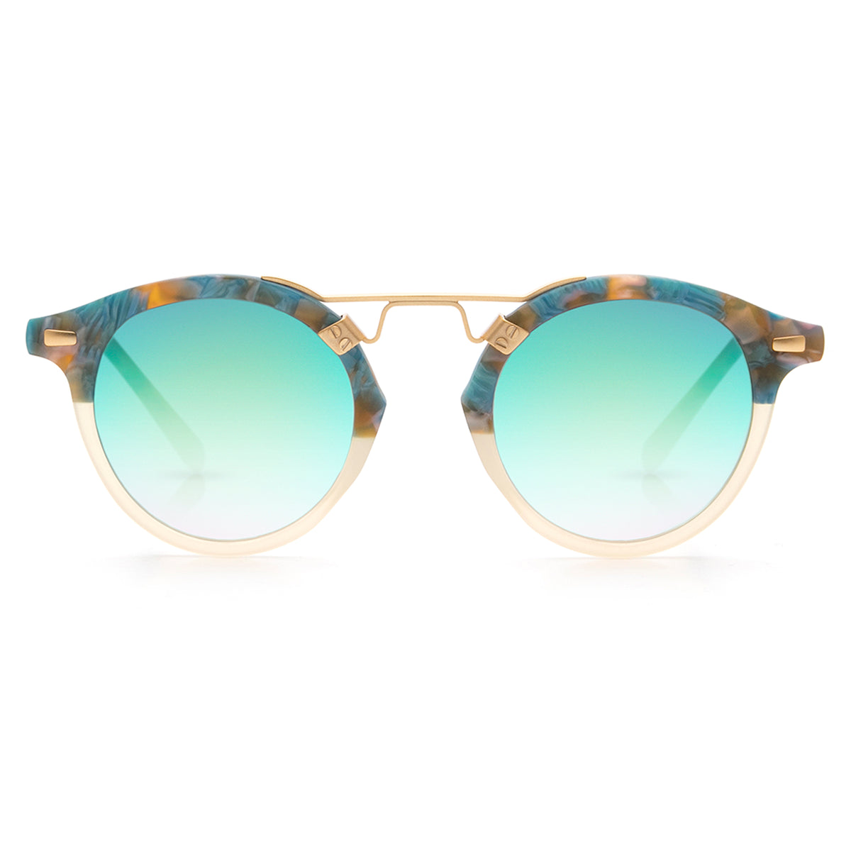 ST. LOUIS MIRRORED | Matte Isle to Champagne 24K handcrafted acetate Sunglasses