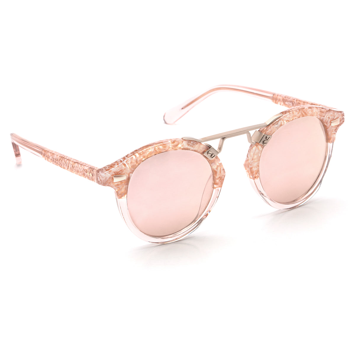 STL II | Camellia to Blush Rose Gold - round Sunglasses handcrafted from acetate featuring 24K gold hardware.