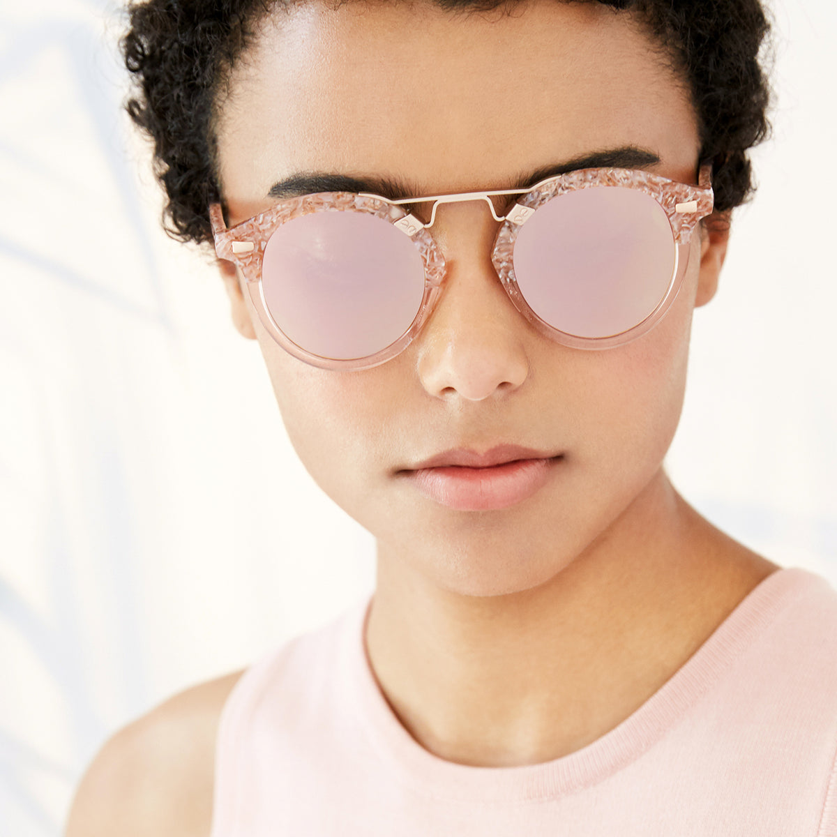 STL II | Camellia to Blush Rose Gold - round Sunglasses handcrafted from acetate featuring 24K gold hardware. | Womens