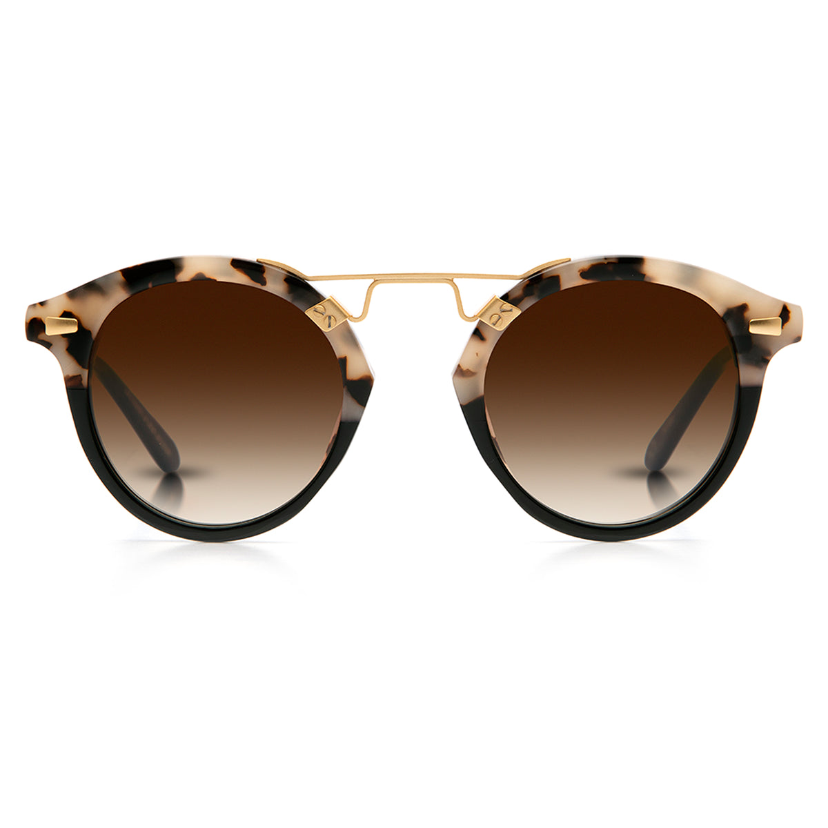 STL II | Oyster to Black 24K - round Sunglasses handcrafted from acetate featuring 24K gold hardware.