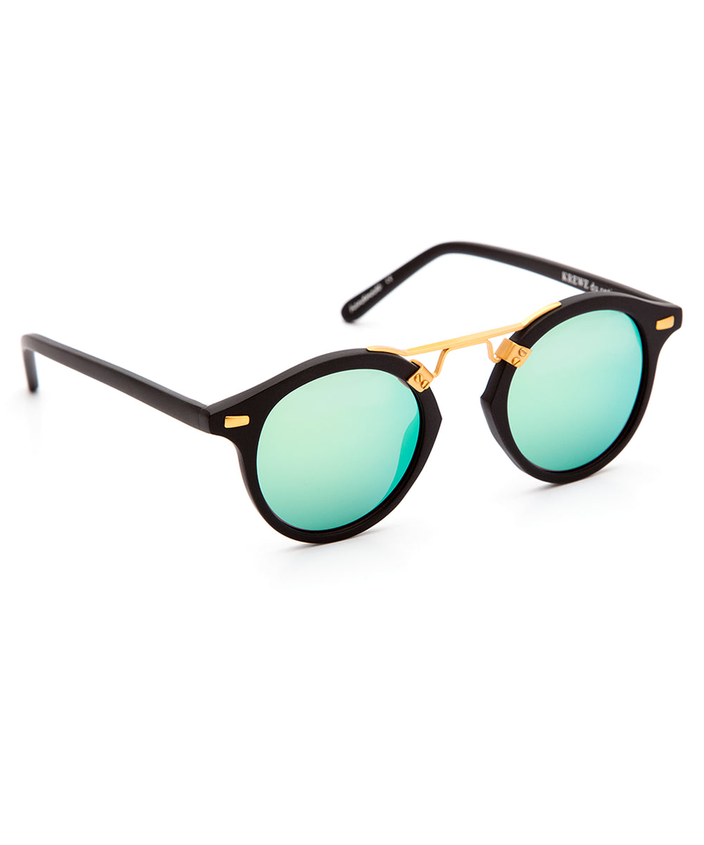 ST. LOUIS MIRRORED | Matte Black handcrafted acetate Sunglasses