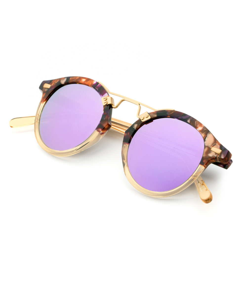 ST. LOUIS MIRRORED | Stardust to Champagne 24K handcrafted acetate Sunglasses