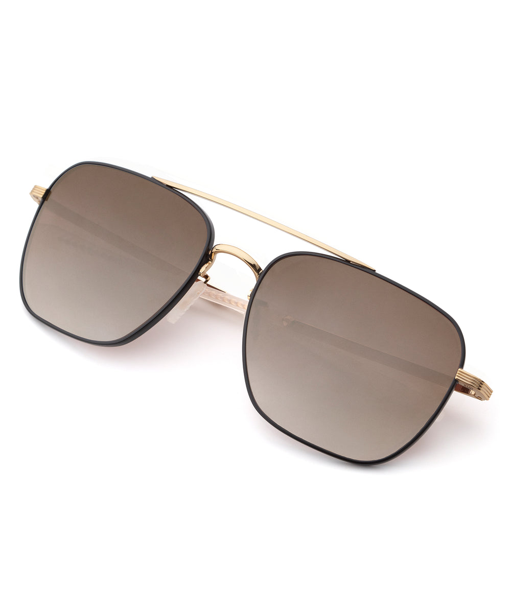 SCOUT | Matte Black + 18K Mirror Polarized Handcrafted, Titanium Sunglasses