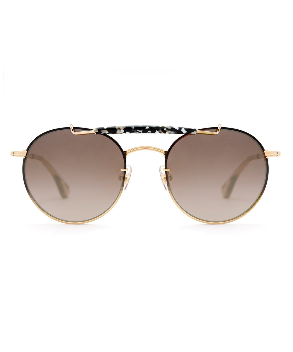 SHELBY | 24K to Matte Black Fade + Plume Mirrored Handcrafted, stainless steel sunglasses