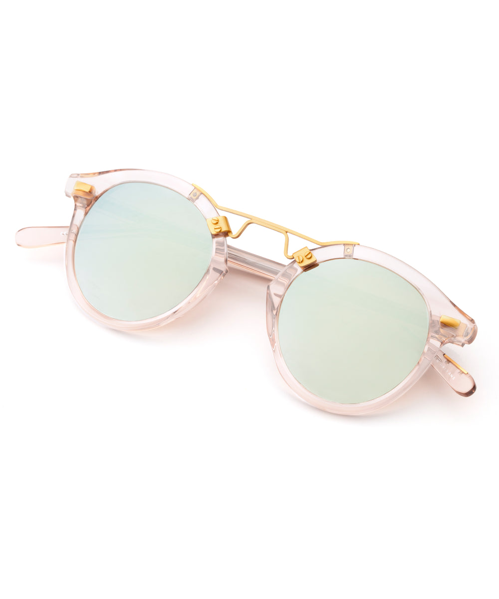 ST. LOUIS MIRRORED | Seaglass to Marine Rose Gold handcrafted acetate Sunglasses