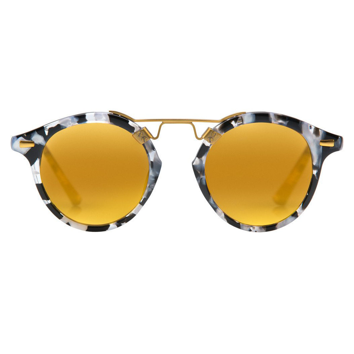St. Louis Round-frame Acetate And Silver-tone Mirrored Sunglasses - Black Krewe YQ3UiT4Ng
