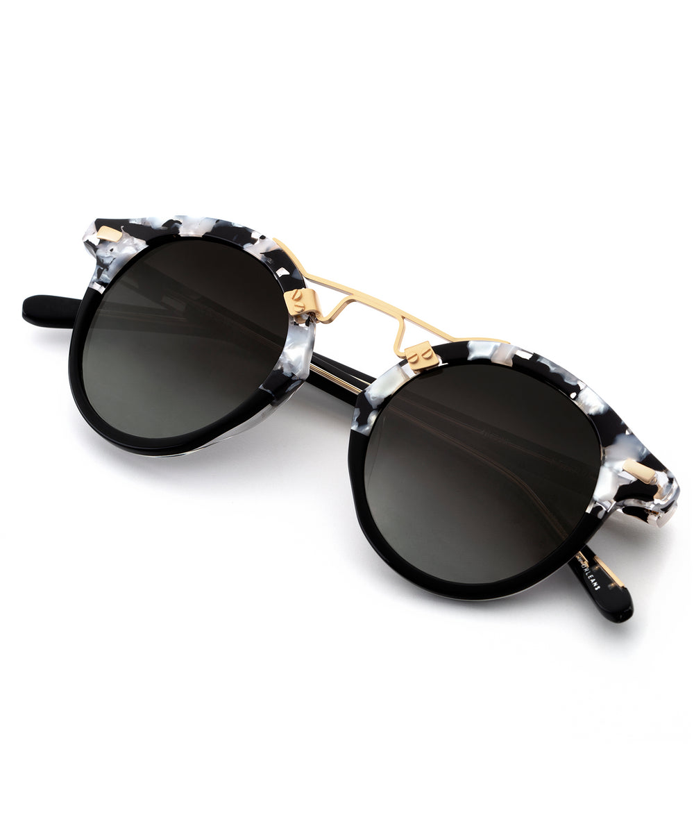 ST. LOUIS | Interstellar to Black and Crystal 24K handcrafted acetate sunglasses
