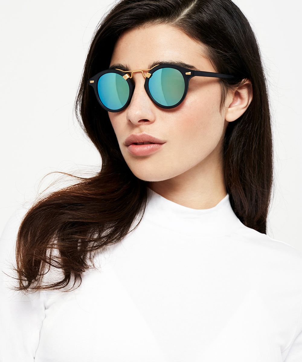 ST. LOUIS MIRRORED | Matte Black handcrafted acetate Sunglasses | Womens | Featured Model