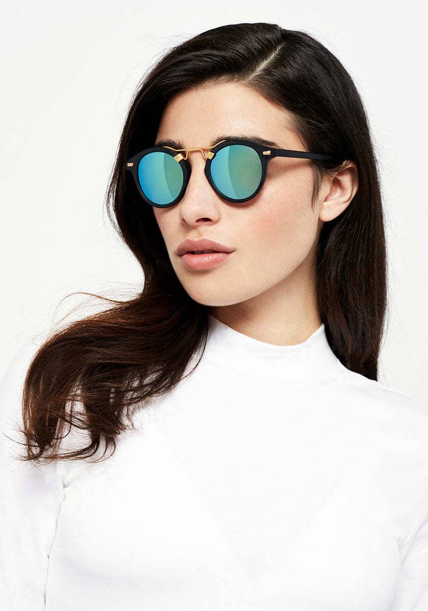 ST. LOUIS MIRRORED | Matte Black handcrafted acetate Sunglasses | Womens
