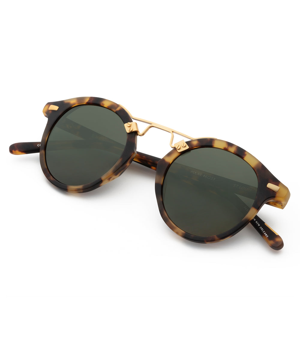ST. LOUIS | Matte Tokyo Tortoise Polarized 24K Handcrafted, Acetate Sunglasses