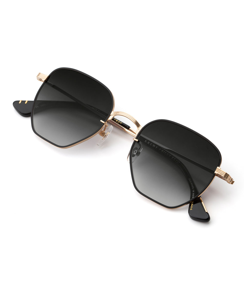 TROY | 24K + Matte Black + Black Tea Handcrafted, Titanium Sunglasses