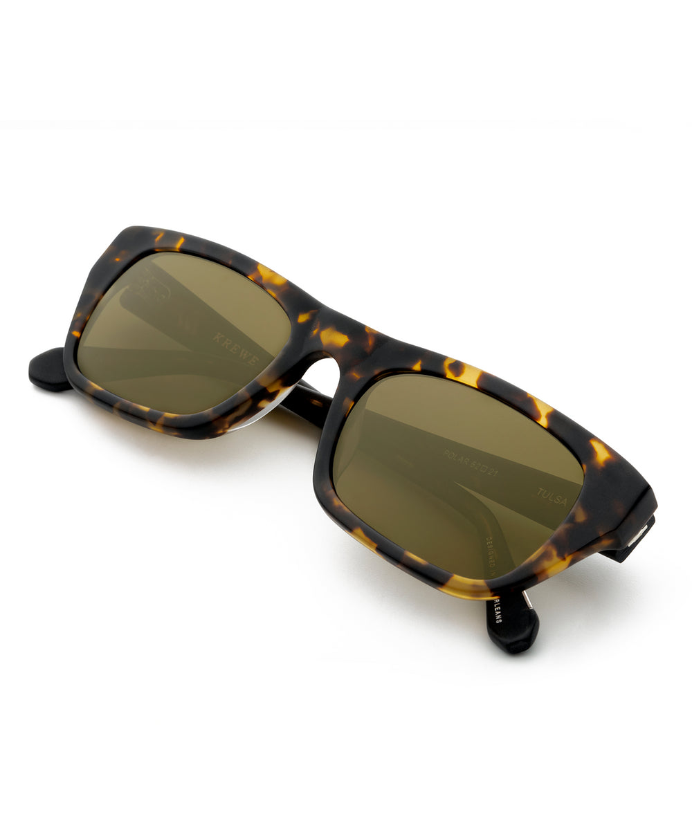 TULSA | Matte Bengal + Black Polarized handcrafted acetate sunglasses