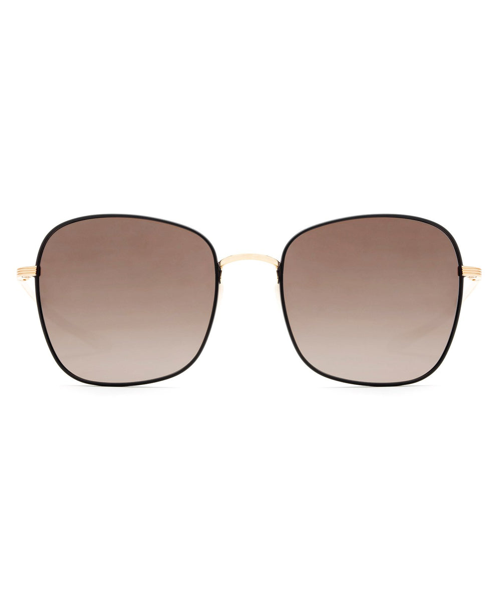 SABINE | Matte Black + Rose Gold Mirrored Handcrafted, Stainless Steel Sunglasses