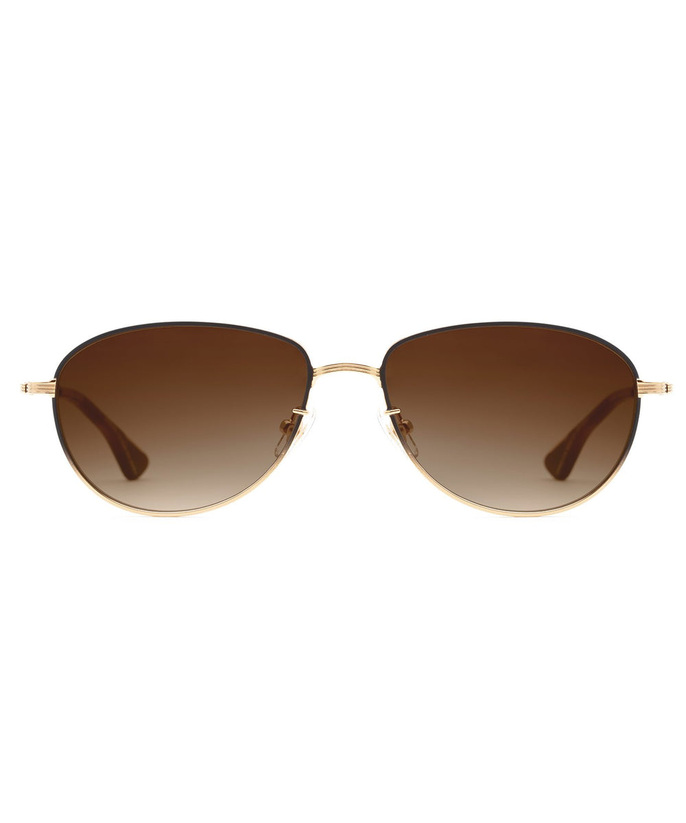 VERNON | 24K to Matte Black Fade + Maple Handcrafted, stainless steel sunglasses