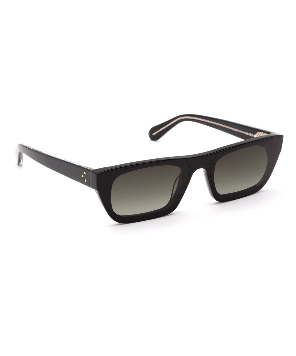 WISNER NYLON | Black to Black and Crystal Handcrafted, Acetate Sunglasses