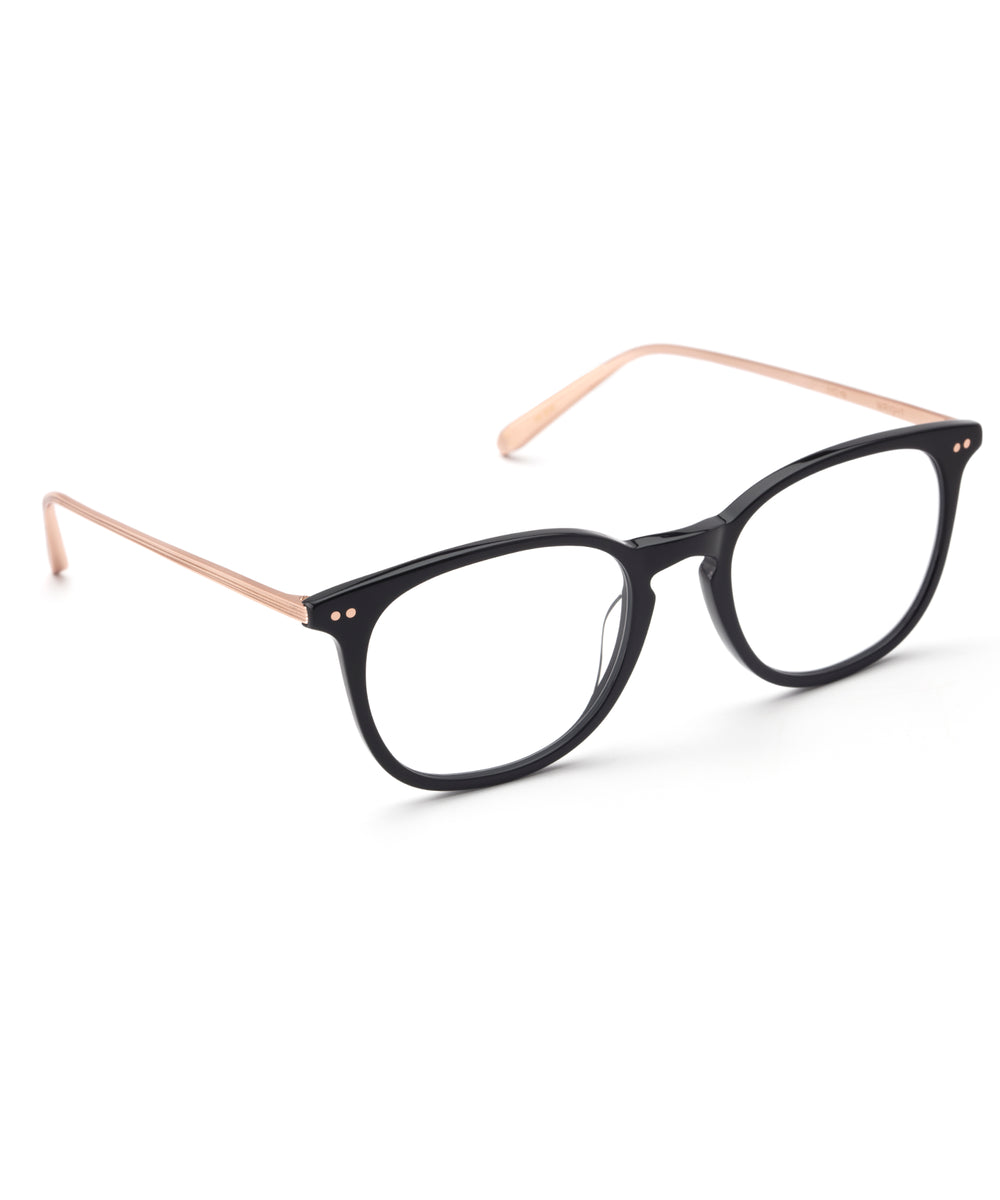 WRIGHT | Black + Rose Gold Handcrafted, Acetate Frames