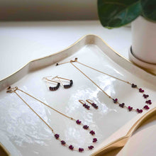 Garnet Rice Bead and Bar Earrings