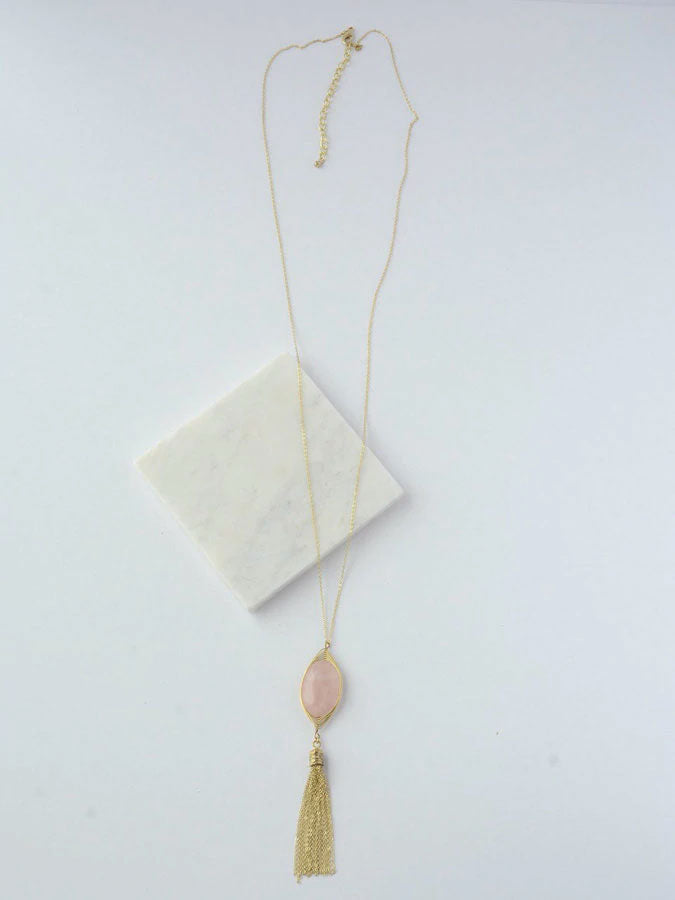 Gold Tassel Necklace - Rose Quartz