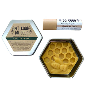 Beeswax Lotion Bar & Lip Balm Bundle - Cedar Vanilla / Cocoa Butter