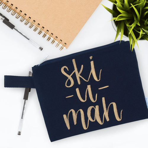 Ski-U-Mah Hand Lettered Zipper Bag