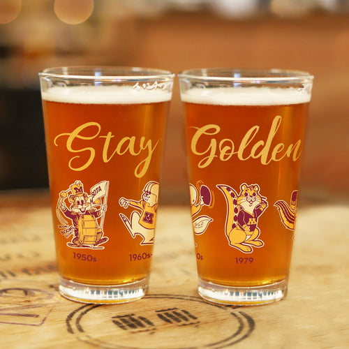 The Evolution of Goldy Pint Glass Set