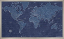 Framed Blueprint World Map