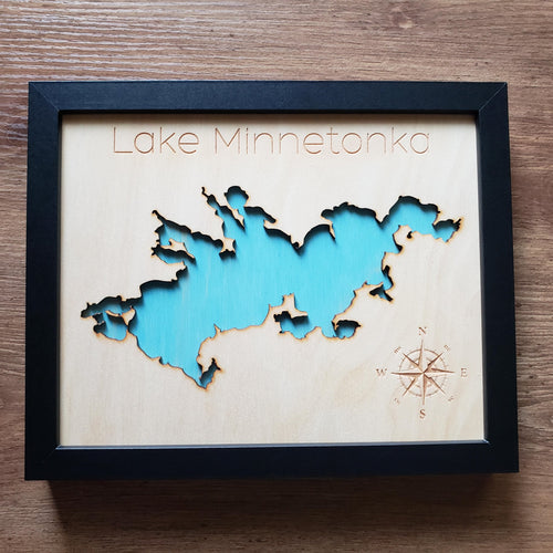 Wood Map of Lake Minnetonka