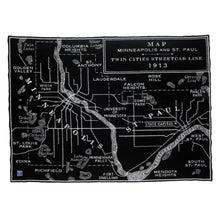 Vintage Twin Cities Map Throw