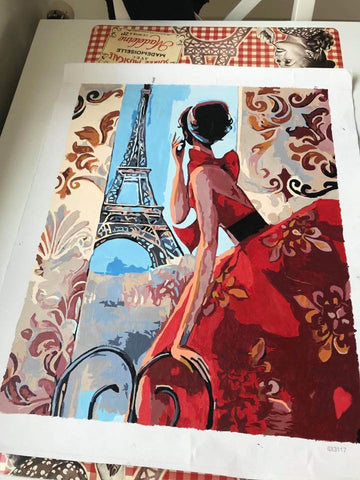 Parisienne Lady paint by number kit - Canvas by Numbers