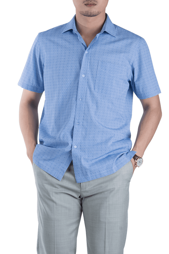"Blue Shirt With ""+"" pattern"