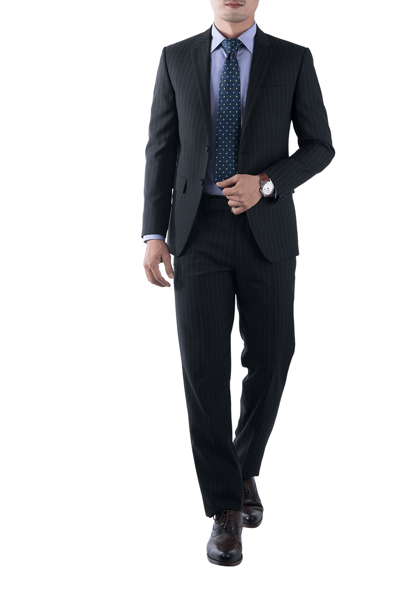 Black Suit With White Stripe