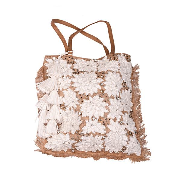 Front of hand beaded tote style beach bag