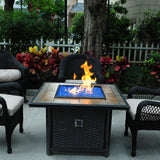 Tretco 39 inch Square Wicker Fire Pit - PatioElegance